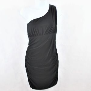 Bebe Ruched 1 Shoulder Little Black Cocktail Dress
